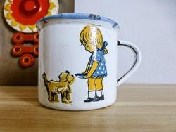 Ritka retro bádog,bonyhádi,kutyusát etető kislány mesebögre,bögre