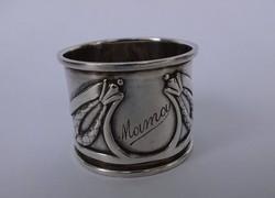 Szecessziós ezüst szalvéta gyűrű..