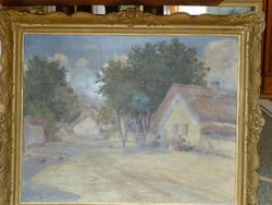 Eladó Kézdi-Kovács László: Falusi házak című olajvászon festménye