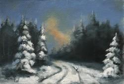 Decemberi séta a fenyvesben - akrilfestmény