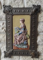Fali kép majolika,fayance, domború majolika figuràlis barokk stílusú,Fayans