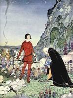 Régi francia tündérmese illusztráció sorozat reprint nyomat V.F.Sterrett 1919 herceg öreg tudós