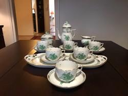 Herendi 6 személyes zöld Apponyi kávéskészlet tálcával