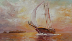 Vitorlás a tengeren .Hajó.Tájkép festmény.