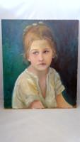 Kislány fehérben gyermekportré olajfestmény