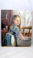 Mosó lány  olajfestmény
