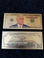 Új - színes + aranyozott, plasztik 50 dollár Mike Pence(Donald Trump volt alelnöke) arcképével.