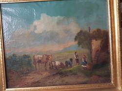 Biedermeier tájkép pásztorokkal állatokkal