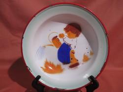 Régi budafoki zománcos gyerek tányér