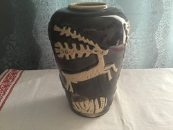 Váza 20cm szarvas mintával