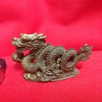 Bronz,Réz Tömör Mitológiai Kínai Sárkány Mini Figura Szobor.