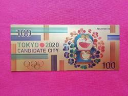 Új - színes + aranyozott, plasztik 100 yen - TOKYO 2020