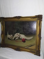 1,-Ft Nagyméretű Boleradszky Benő macskás festmény
