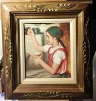 Rózsa Károly - Buborék készítő lányka - mesés olajfestmény, mesés keretben
