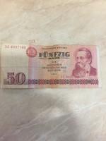 Kelet német 50 márka, bankjegy, Engels 1971