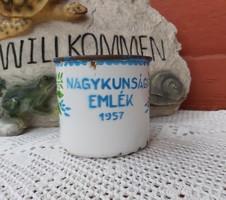 Zománcos Lampart Nagykunsági Emlék 1957  bögre retro , nosztalgia falusi paraszti dekoráció