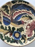 Antik kerámia tányér paradicsommadárral, 19,5 cm