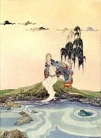 Régi francia tündérmese illusztráció sorozat reprint nyomat V.F.Sterrett 1919 lány sivatag forrás tó