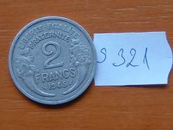 FRANCIA 2 FRANCS FRANK 1945 ALU. S321