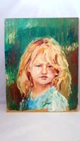 Szőke kislány olajfestmény