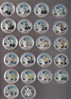 45 USA elnök színes érméken, kapszulákban ! Joe Biden még nincs közte !