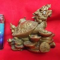 Bronz Réz Kínai Mitológiai Sárkány Teknős Szobor,Figura.