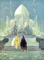 Régi francia tündérmese illusztráció sorozat reprint nyomat V.F.Sterrett 1919 palota herceg lány
