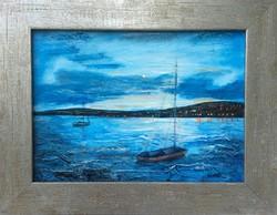 Moonlit lake. From a studio. Lake Balaton picture, 38x29cm. Károlyfi sófia from a prize-winning artist.