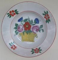Népművészeti kerámia tányér virágkosaras  - átmérő 23 cm