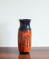 Retro kerámia váza - fekete és piros különleges mintával - zsűrizett iparművészeti termék