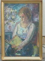 Eladó szignált Olvasó leány olaj fa festmény