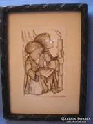 Antik Bájos hummel  kép ritkaság   régi díszes faragott  üveglapos  keretében 16 x 13 cm