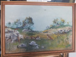 Vadászó rókák (olajfestmény, vászon, keretben 55x80) állatvilág, természeti, sziklás táj