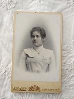 Antik, magyar színezett CDV/vizitkártya/keményhátú fotó Haberfeld K. Budapest, hölgy portré