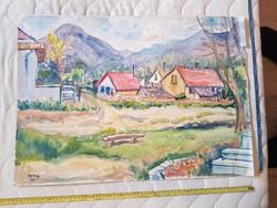 Ágota L.szignós, nagy akvarell festmény, 50x70 környékén