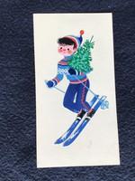 Kecskeméty Károly (1915 – 2003), eredeti karácsonyi képeslap terve 15x8 cm