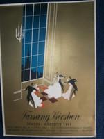 Farsang Bécsben 1938 január-március korabeli kirakati plakát 32x23 cm