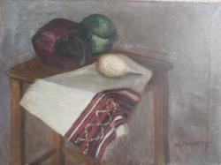 """""""Kolosvary"""" jelzéssel: Csendélet zöldségekkel (43x58 olaj-vászon)"""