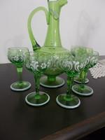 Szépséges zöld szinű kéel festett  likörös készlet