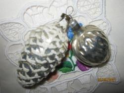 2 Régi ezüst toboz és dió  karácsonyfa dísz