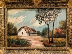 Parasztház, tanya romantikus festmény gyönyörű keretben