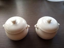 2 db Zsolnay fehér patika edény