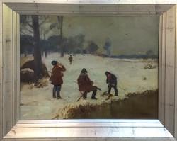Pólya Tibor (1886-1937): Nyúl vadászat télen