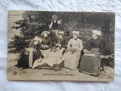 Antik francia képeslap/fotólap La Chaise Dieu-i csipkekészítők 1910 körüli darab