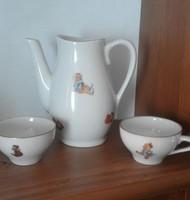 Baba porcelán kancsó csészékkel - hiányos