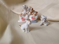 Porcelán cica, kutya trió