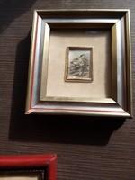 Ezüst lapra nyomott város kép keretben 925-ös ezüst