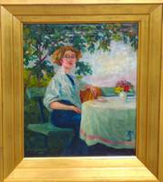 Plány Ervin (1885 - 1916) : Hölgy virágcsokorral