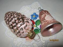2 Régi toboz és harang  karácsonyfa dísz