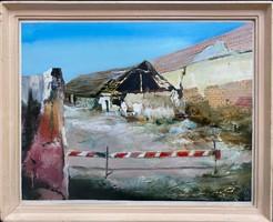 Teljes hagyaték aukción! Kéri László (1949-) Képcsarnokos olaj,farost festmény Gyönyörű 1 Ft-ról!